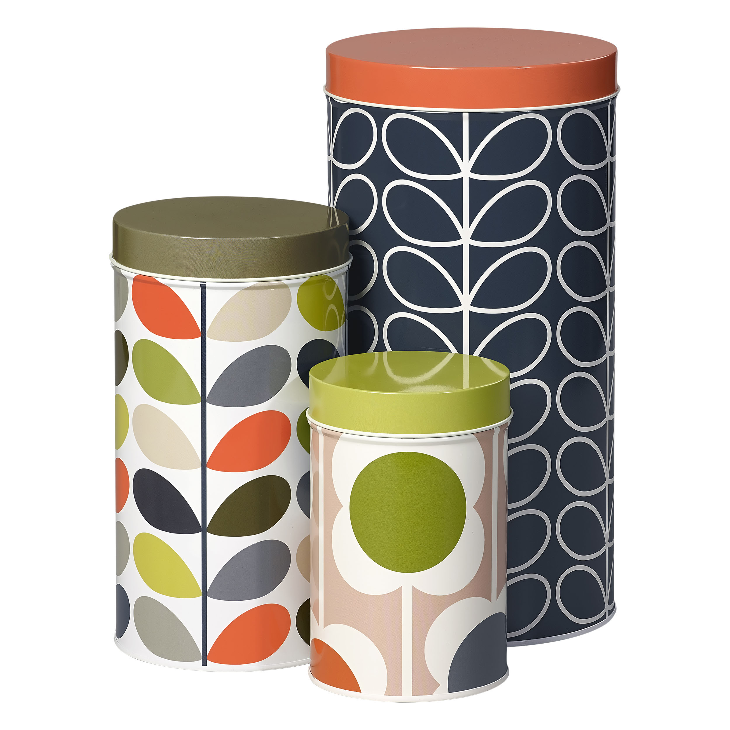 Tin Canisters, Assorted Prints, Set of 3