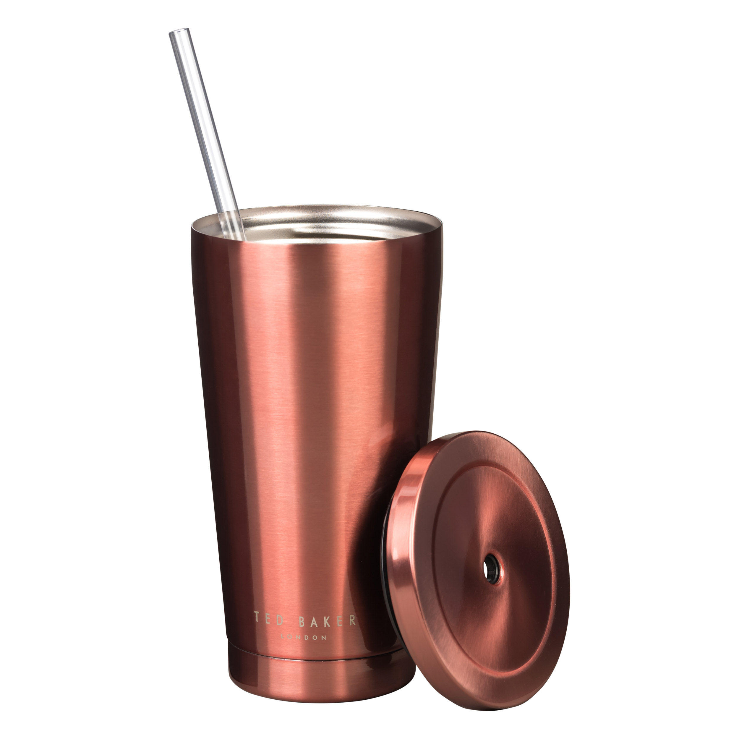 Tumbler with Straw, Rose Gold